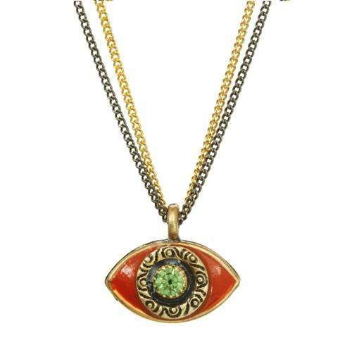 Michal Golan Orange and Green Evil Eye Double Strand Necklace
