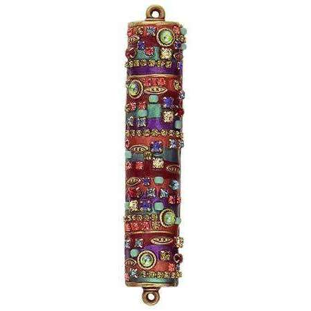 Michal Golan Orange and Purple Mezuzah