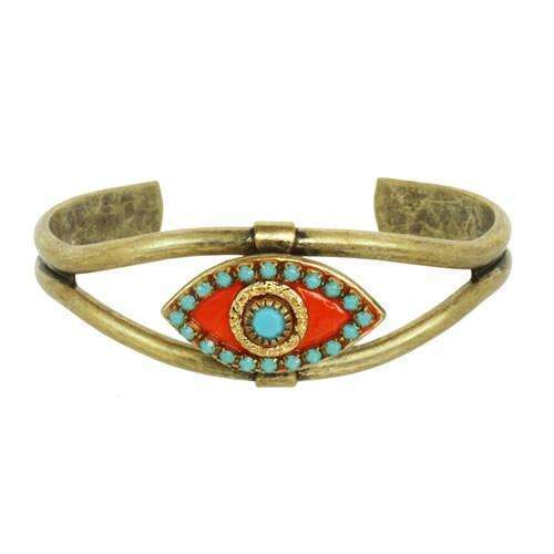 Michal Golan Orange and Turquoise Evil Eye Cuff Bracelet