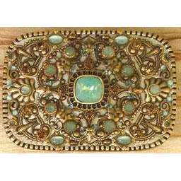 Michal Golan Pacific Opal Swarovski Crystals and Cat's Eye Belt Buckle