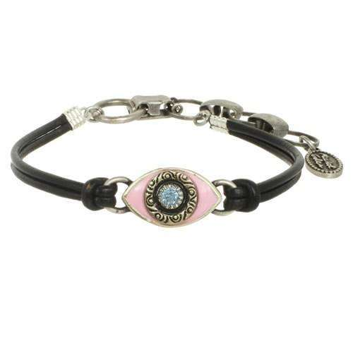 Michal Golan Pale Pink Evil Eye Bracelet on Leather