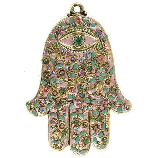 Michal Golan Pastel Blue Wall Hamsa with Swarovski Crystals
