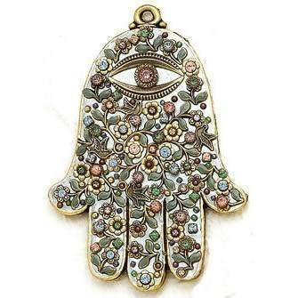 Michal Golan Pastel Pink Wall Hamsa with Swarovski Crystals