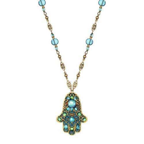 Michal Golan Peacock Hamsa Necklace
