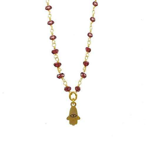 Michal Golan Petite Garnet Hamsa Necklace
