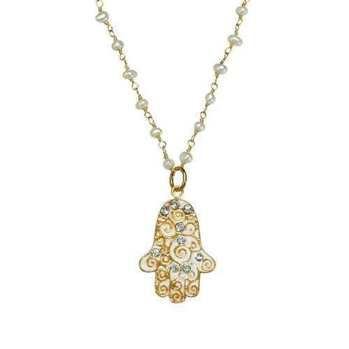 Michal Golan Petite Pearl Hamsa Necklace