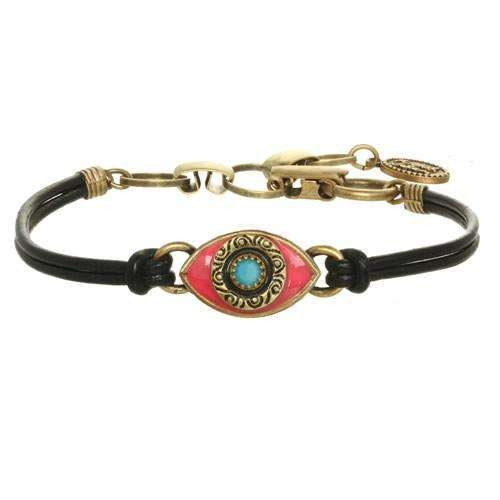 Michal Golan Pink and Blue Evil Eye Bracelet on Leather