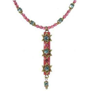 Michal Golan Pink and Blue Star of David Necklace with Dangle