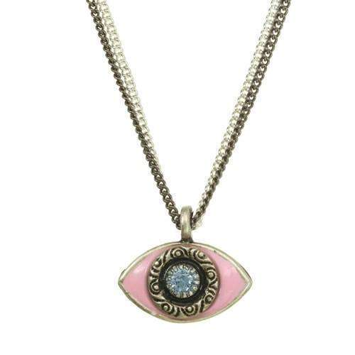 Michal Golan Pink and Crystal Evil Eye Double Strand Necklace