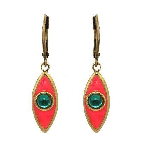 Michal Golan Pink and Green Evil Eye Earrings