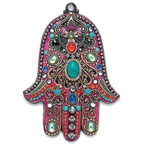 Michal Golan Pink and Multi Color Wall Hamsa
