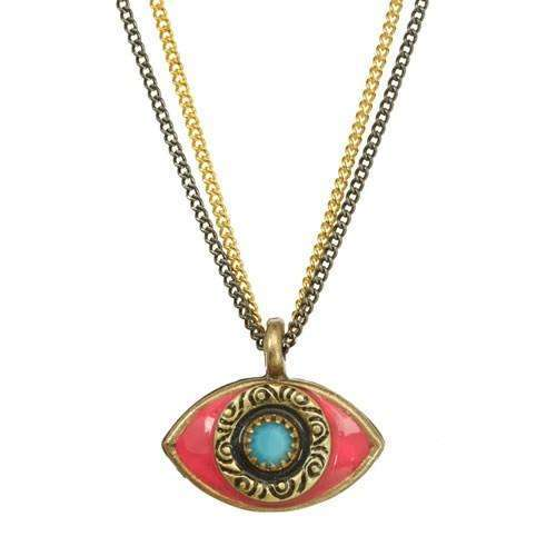 Michal Golan Pink and Turquoise Evil Eye Double Strand Necklace
