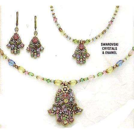 Michal Golan Pink Flower Hamsa Necklace