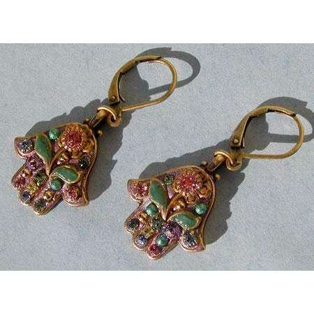 Michal Golan Pink Hamsa Earrings