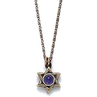 Michal Golan Purple and Gold Star of David Necklace