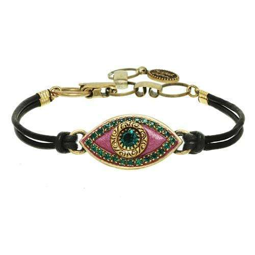 Michal Golan Purple and Green Evil Eye Bracelet on Leather