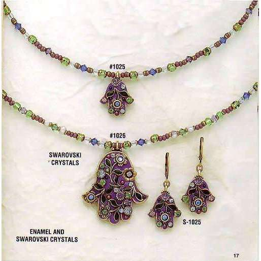Michal Golan Purple Enamel and Swarovski Crystal Hamsa Necklace