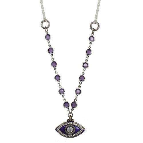 Michal Golan Purple Evil Eye Beaded Necklace