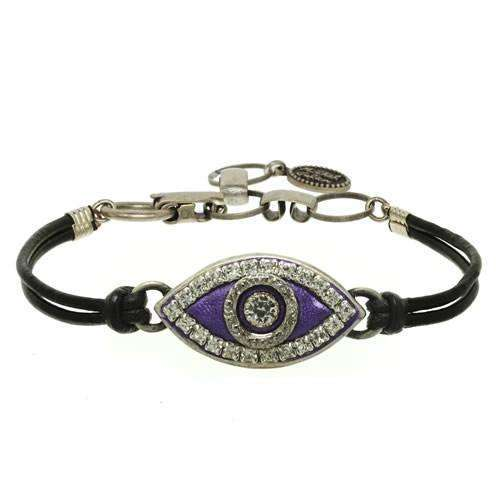 Michal Golan Purple Evil Eye Bracelet on Leather