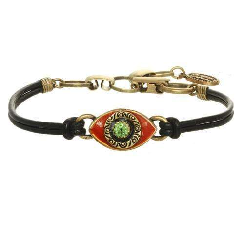 Michal Golan Red and Green Evil Eye Bracelet on Leather