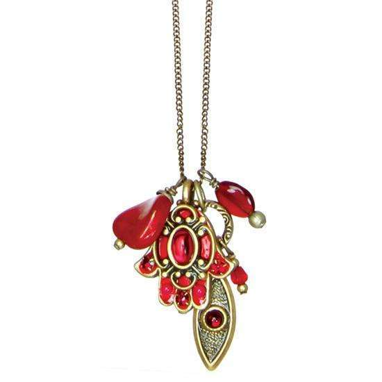 Michal Golan Red Hamsa and Evil Eye Cluster Charm Necklace