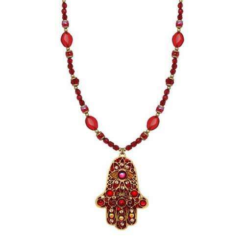 Michal Golan Red Hamsa Necklace