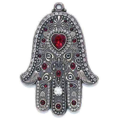 Michal Golan Red Heart and Silver Dove Wall Hamsa