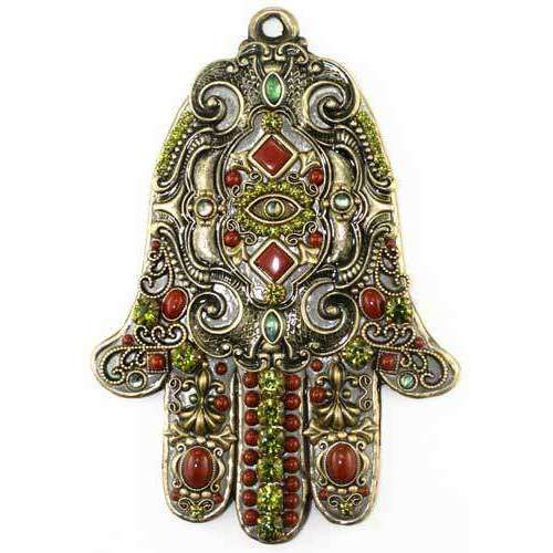 Michal Golan Red Jasper and Green Wall Hamsa