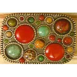 Michal Golan Red Jasper, Tiger Eye, Green Aventurine, Jade, Vaikite, Leopard Skin and Aragonite Belt Buckle