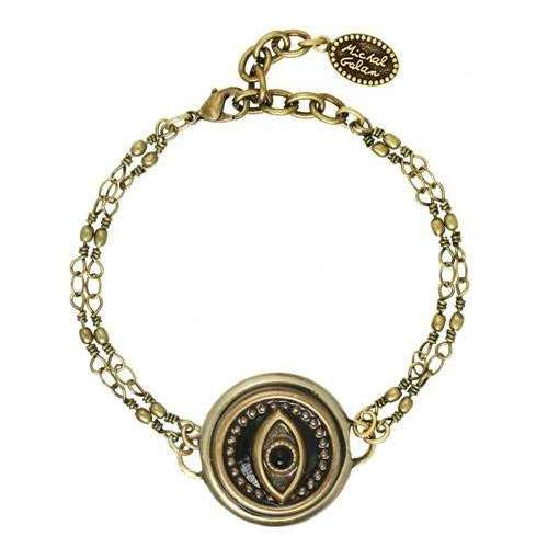 Michal Golan Round Black and Gray Evil Eye Bracelet on Double Chain