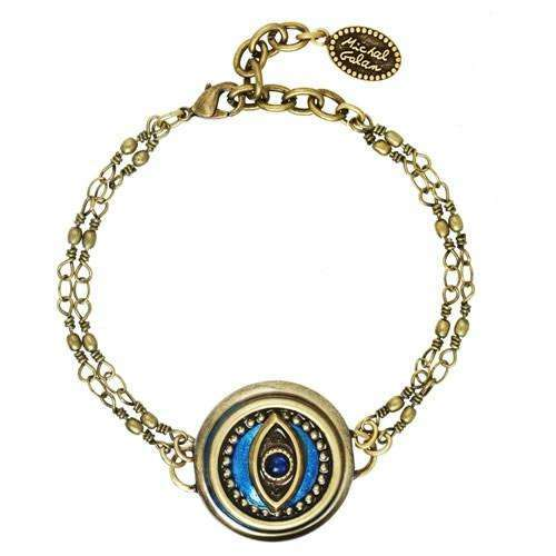 Michal Golan Round Blue Evil Eye Bracelet on Double Chain