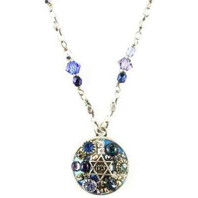 Michal Golan Round Crystal Blue Mosaic Star of David Necklace