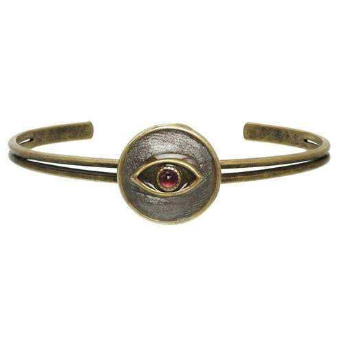 Michal Golan Round Red and Silver Evil Eye Cuff Bracelet