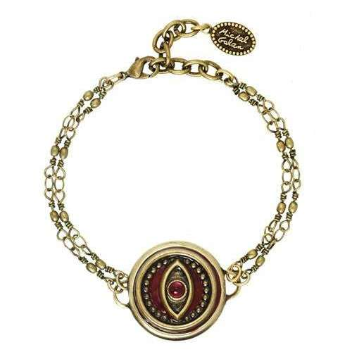 Michal Golan Round Red Evil Eye Bracelet on Double Chain