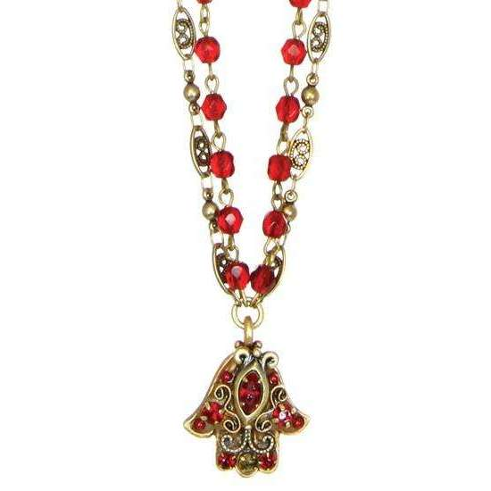 Michal Golan Ruby Red Double Chain Hamsa Necklace