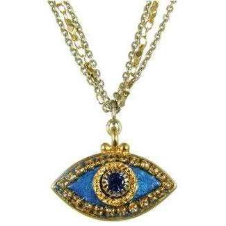 Michal Golan Sapphire and Gold Evil Eye Pendant Necklace