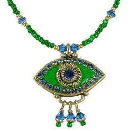Michal Golan Sapphire, Gold and Emerald Evil Eye Pendant and Beaded Necklace With Drop Beads