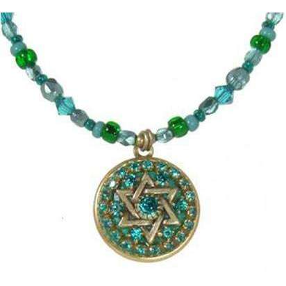 Michal Golan Shades of Green Jewish Star Necklace