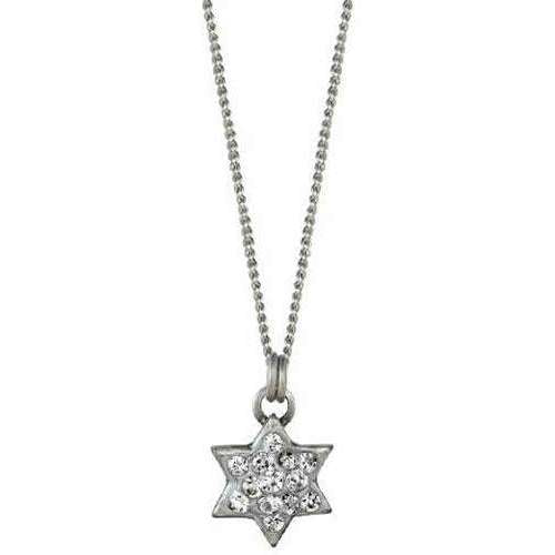 Michal Golan Silver and Crystal Star of David Necklace