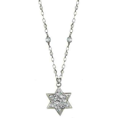 Michal Golan Silver and Crystal Star of David Necklace on Beaded Chain