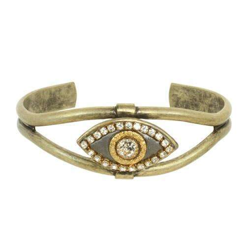 Michal Golan Silver and Gold Evil Eye Cuff Bracelet
