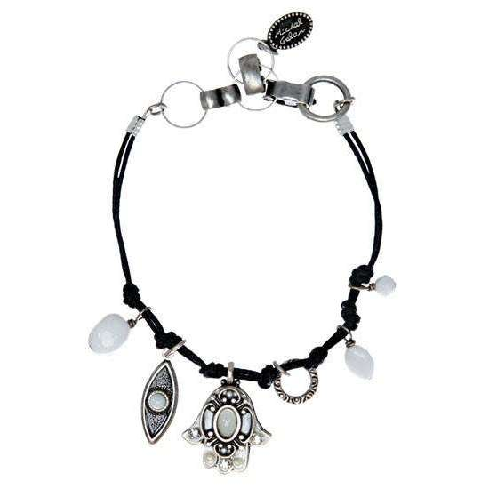Michal Golan Silver and White Hamsa and Evil Eye Bracelet