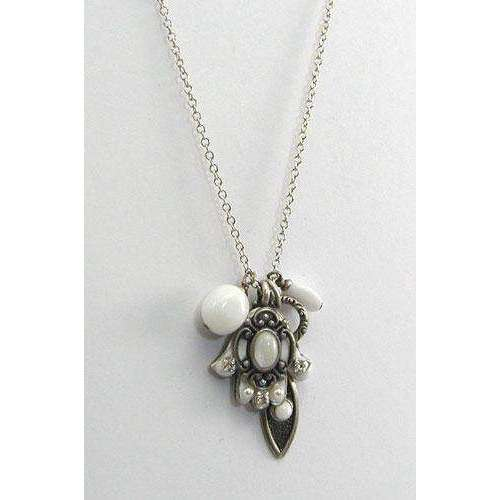 Michal Golan Silver and White Hamsa and Evil Eye Cluster Charm Necklace
