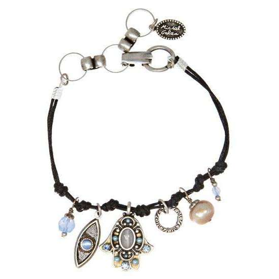 Michal Golan Silver Cat's Eye Hamsa and Evil Eye Bracelet