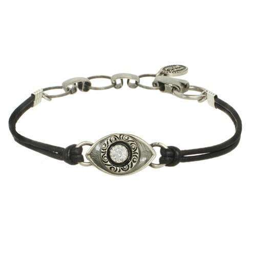 Michal Golan Silver Evil Eye Bracelet on Leather