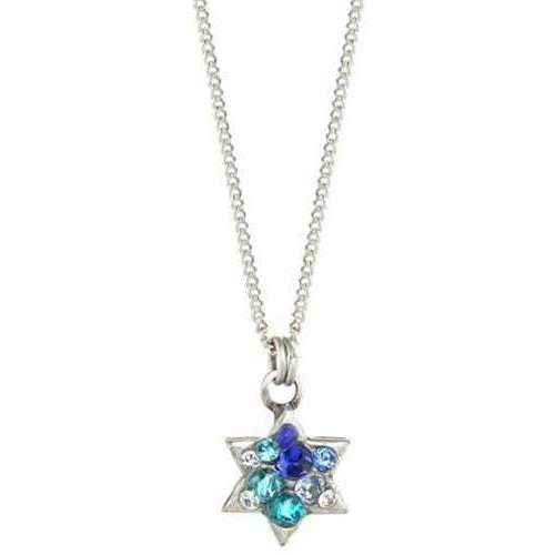 Michal Golan Silver Star of David Necklace with Blue Crystal Mosaic