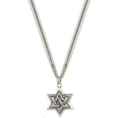 "Michal Golan Silver Star of David Triple Chain ""Love"" Necklace"