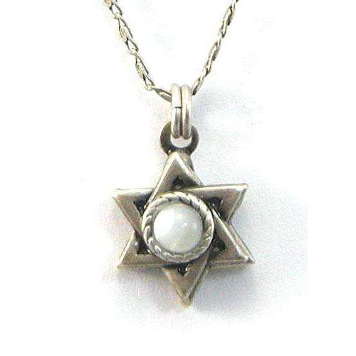 Michal Golan Silver Star of David with Pearl