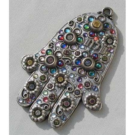 Michal Golan Silvertone Floral Wall Hamsa with Hebrew Lettering