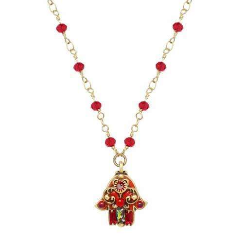 Michal Golan Small Red Hamsa on Channel Chain